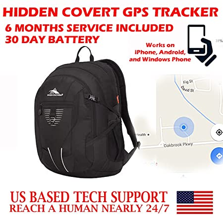 Totally Covert Undiscoverable Hidden GPS Tracker SMS Locator Mini Portable Vehicle Tracking Locating Kids Spy Gadget Device with 30 Day Battery Bookbag, Backpack, Camping, Hiking, Travel Bag Model