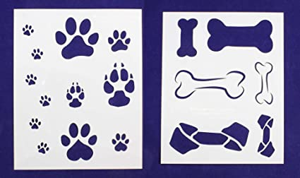Dog Bone/Paw Print 2 Piece Stencil Set 8