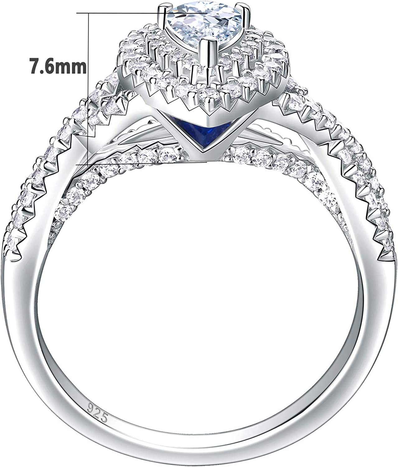 Newshe Wedding Rings for Women Engagement Ring Sets Sterling Silver Cz 1.7Ct Pear Teardrop Size 5-10