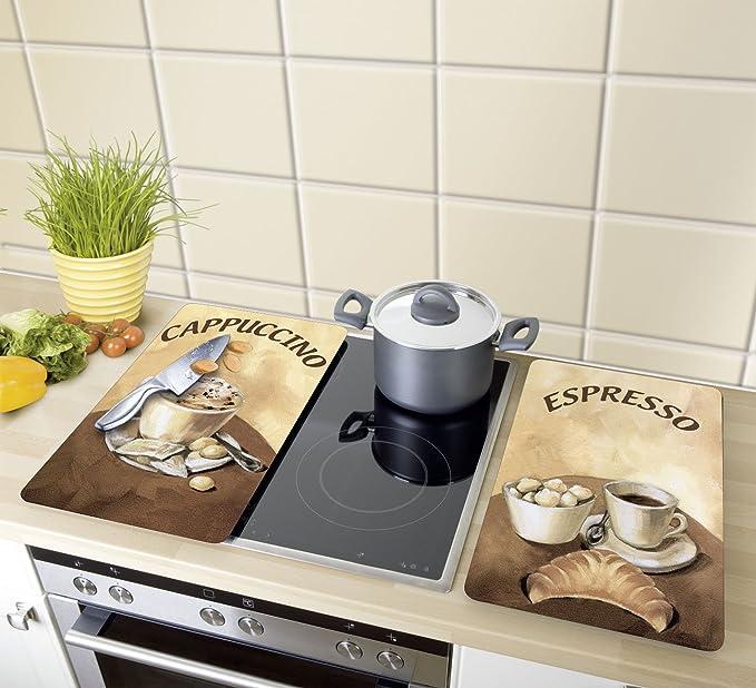 WENKO 2521280100 Cubre vitro de cocina Universal Café - juego de 2 piezas para todos los tipos de cocinas, Vidrio endurecido, Multicolor