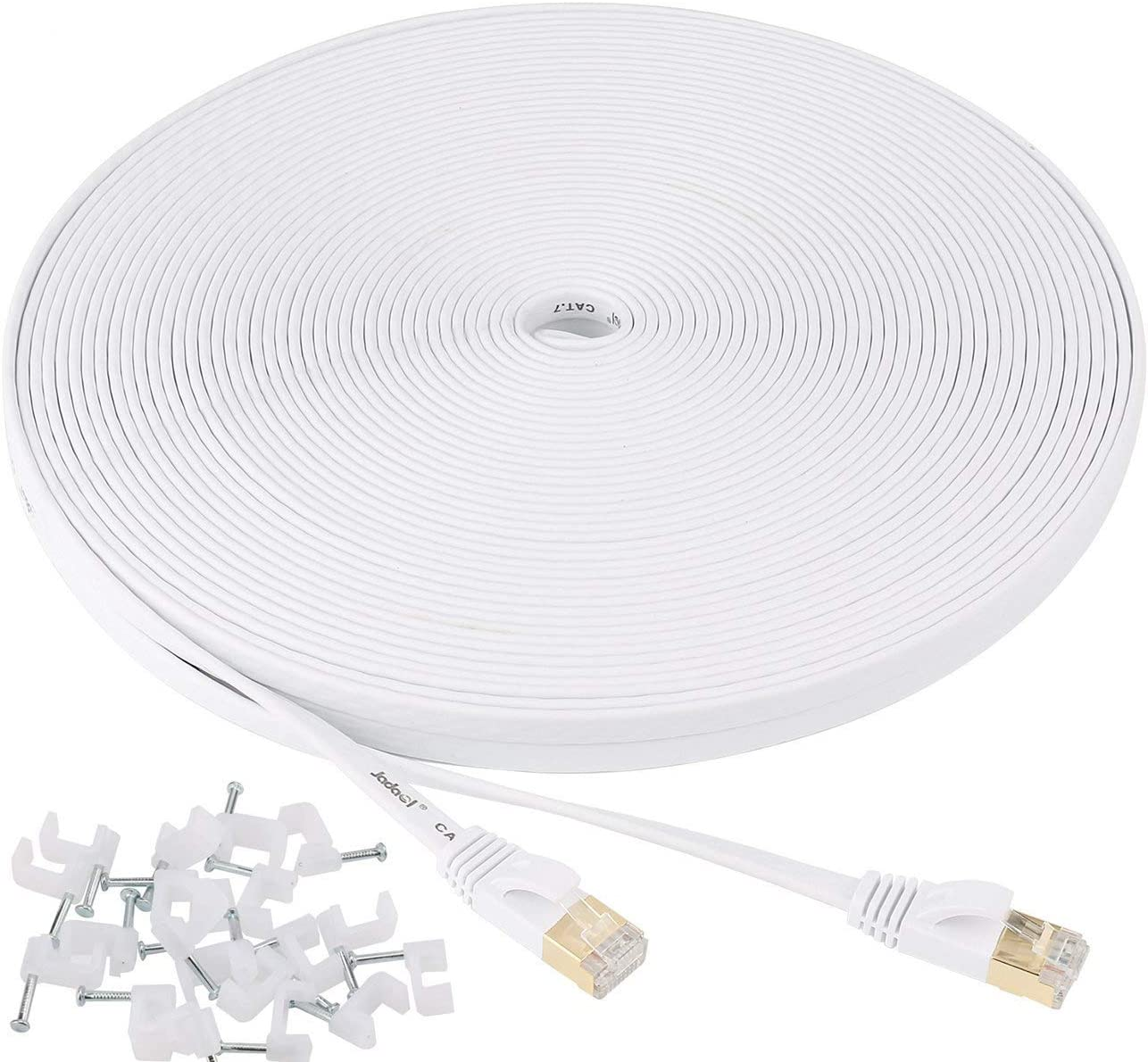 Jadaol Cat 7 Ethernet Cable 100 ft Shielded, Solid Flat Internet Network Computer patch cord, faster than Cat5e/cat6 network, Slim Long durable High Speed RJ45 Lan Wire for Router, Modem, Xbox – White: Computers & Accessories