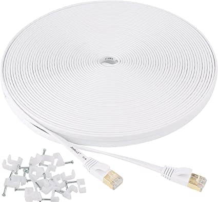 Amazon Com Jadaol Cat 7 Ethernet Cable 100 Ft Shielded Solid Flat Internet Network Computer Patch Cord Faster Than Cat5e Cat6 Network Slim Long Durable High Speed Rj45 Lan Wire For Router Modem Xbox