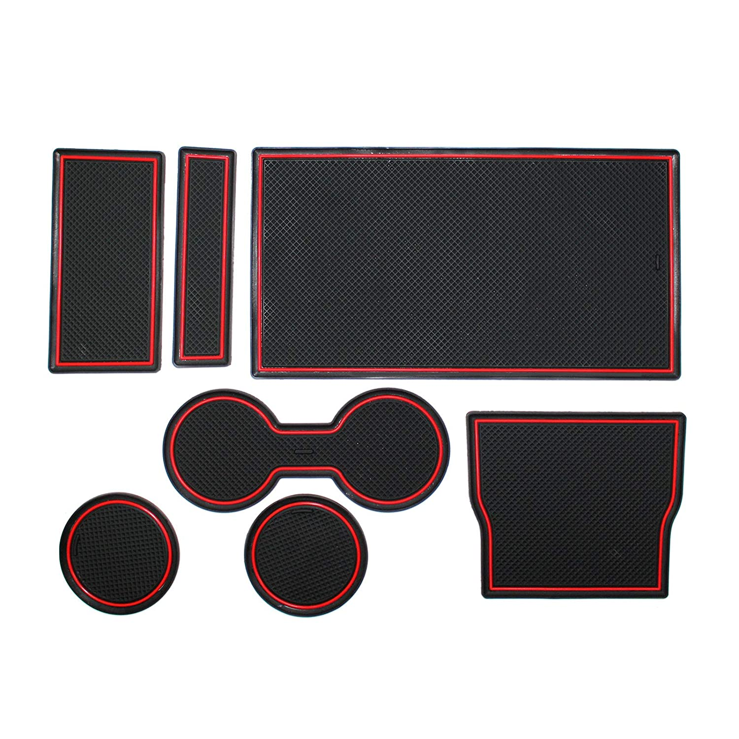 YaaGoo 7pcs Cup and Center Console Liner Set Red Trim for Tesla Model 3 2017 2018 2019 Red