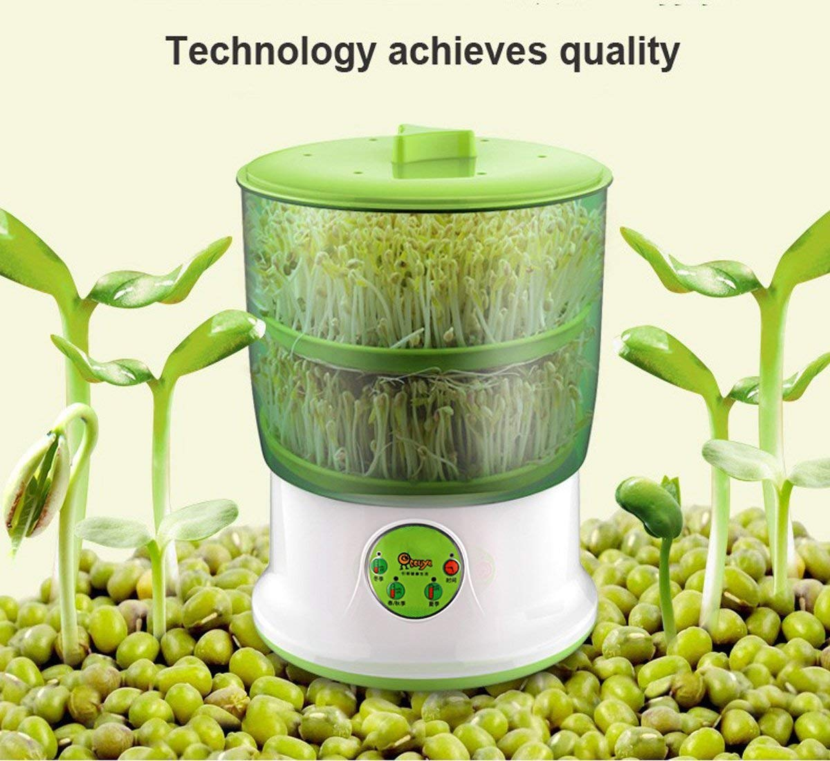 DOTSOG 110V Bean Sprouts Machine Food Grad PP Material Automatic Seed Sprouter Power-Off Memory Function Sprouter by DOTSOG
