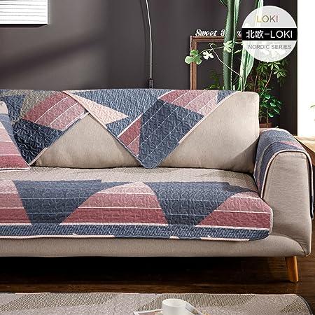 YUMUO Funda de sofá para mascota Geometría Americana Estilo Antideslizante Tela de Algodón Sofá Cojín Moderno Minimalista Sofá Toalla, algodón, C, 110x110cm(43x43inch): Amazon.es: Hogar