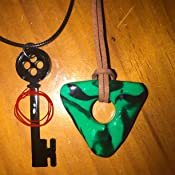 Amazon Com Clay Coraline Seeing Stone Necklace Looking Stone Amulet Coraline Green Stone Coraline Key Coraline Black Key Coraline Costume Handmade