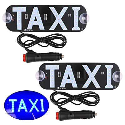Sdootauto Taxi LED Sign Decor, 2 Pack LED Light Sign Logo, Flashing Hook on Car Window with DC12V Car Charger Inverter for Rideshare Driver - Blue: Automotive