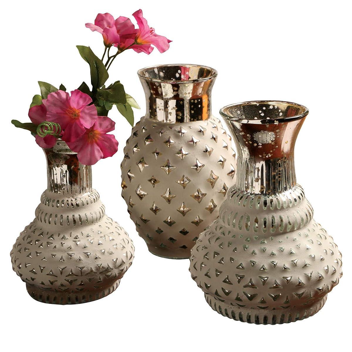 ART & ARTIFACT 3-Piece Bud Vases Set - Whitewashed Mercury Glass Hand Polished