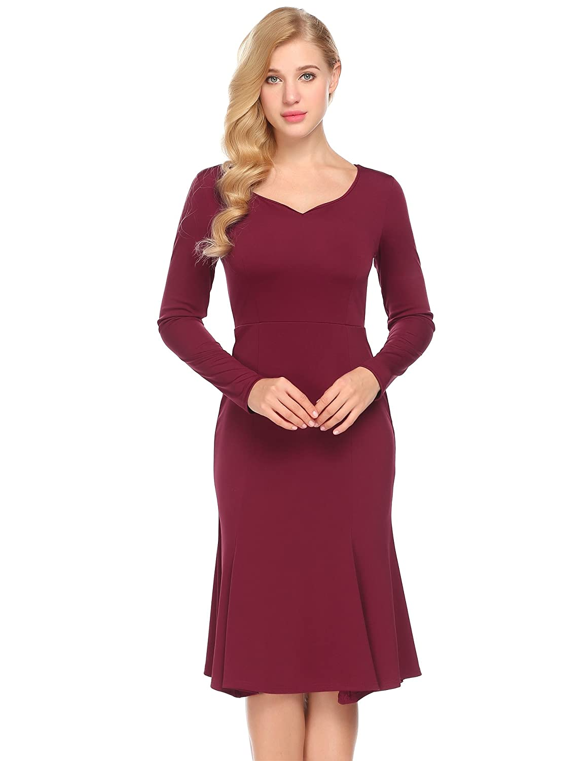 Meaneor Damen Elegant Langarm Abendkleid 50s Vintage Business Kleid ...