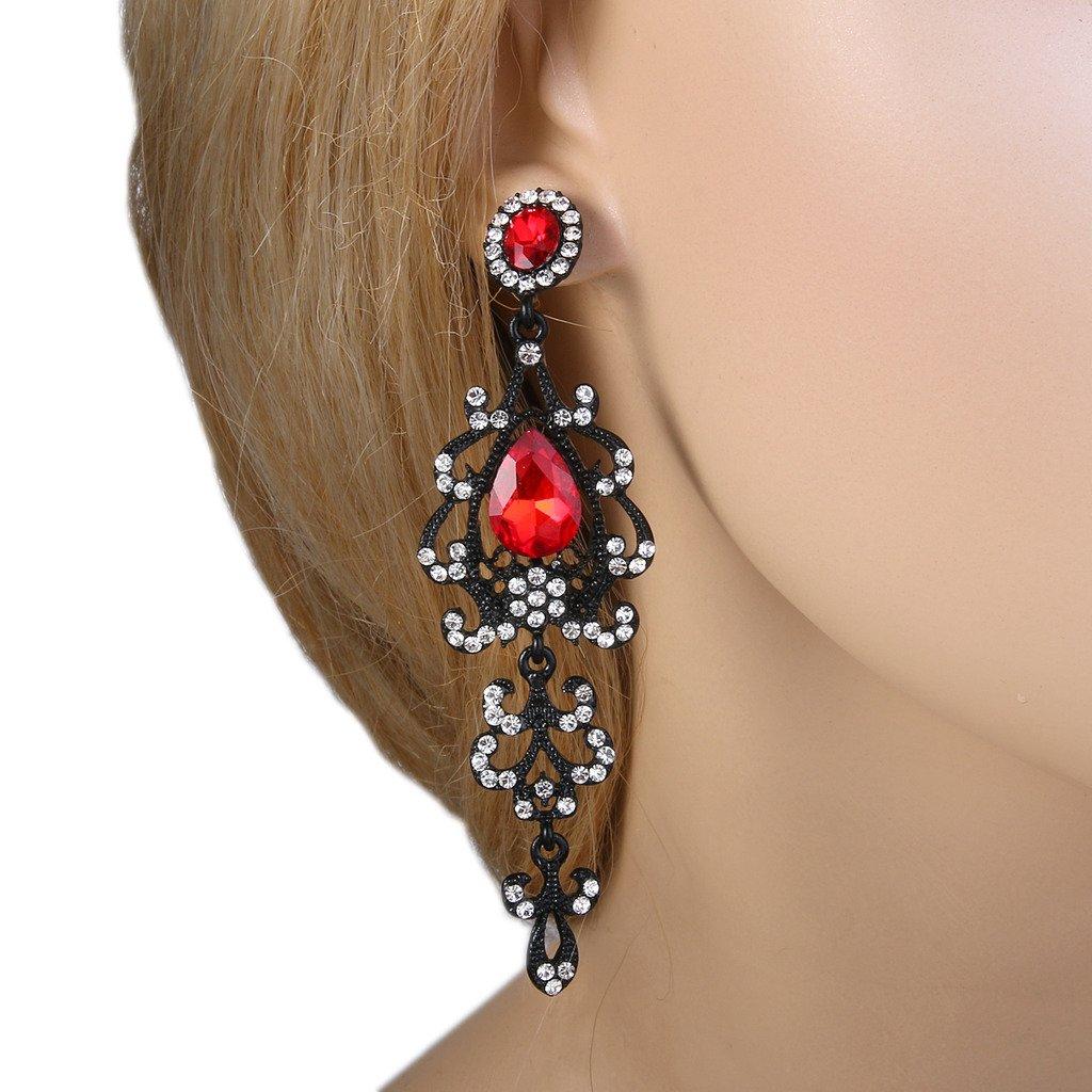 73c5758161 BriLove Womens Vintage Bridal Crystal Elegant Teardrop Chandelier Dangle  Earrings 12001334-7ca Beads & Charms