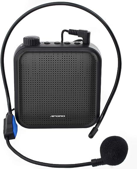 Amplificador de Voz, Sistema de PA Recargable de 12 Vatios (1200 mAh) con Micrófono con Cable para Profesores, Guía Turístico y más (Negro): Amazon.es: Instrumentos musicales