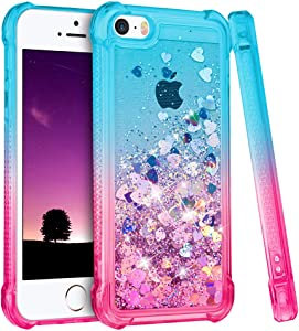 Ruky iPhone SE Case (2016), iPhone 5 5S Case Girls Glitter Bling Flowing Liquid Floating Soft TPU Gradient Quicksand Series Phone Case for iPhone 5 5S SE (Gradient Pink)