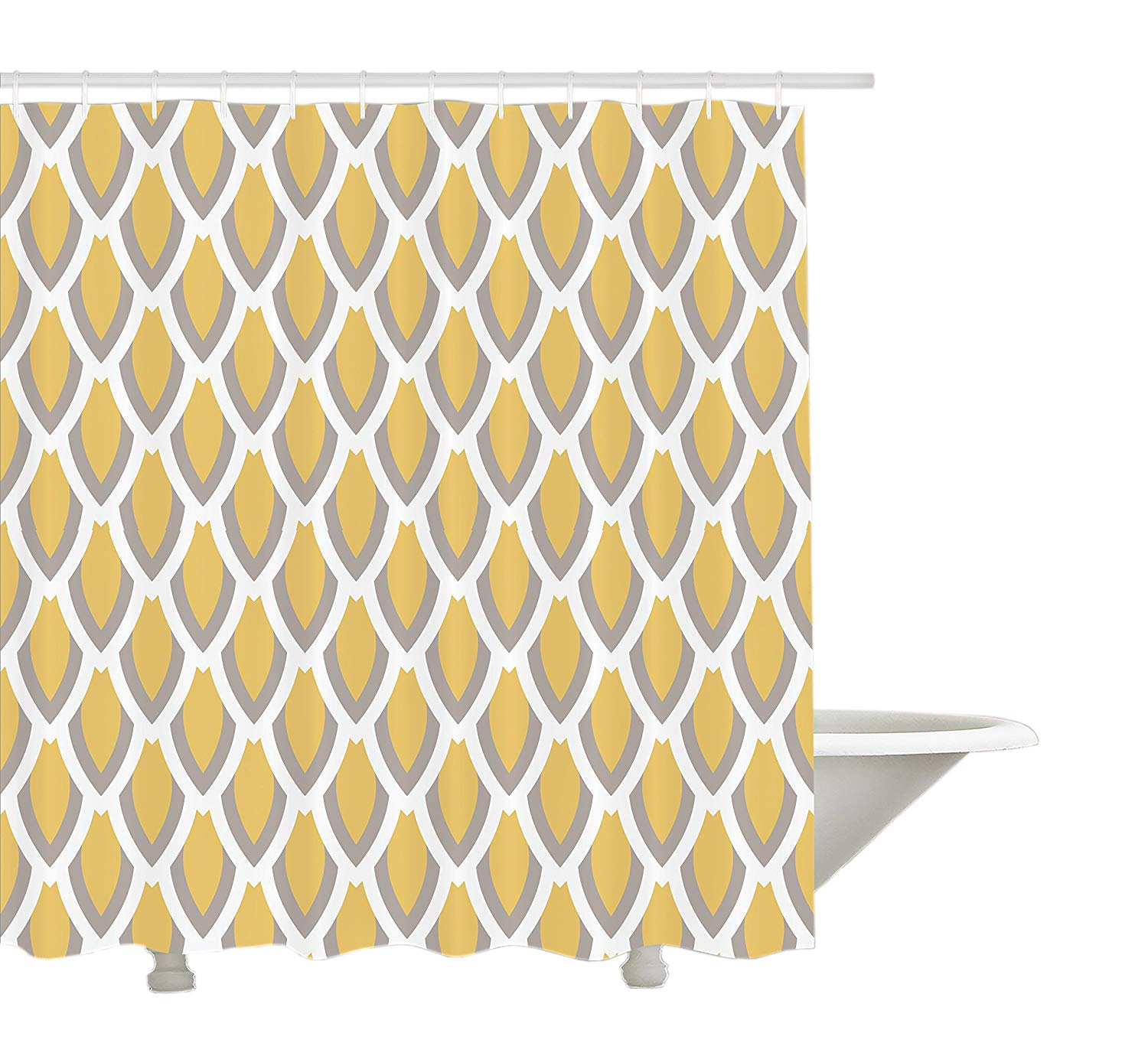 Yeuss Mustard Shower Curtain By Vintage Inspired Downward Leaf