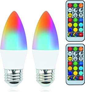Luxvista B10 RGB LED Light Bulb - E26 Color Changing LED Bulb - 5W (40W Equivalent) RGB+Daylight+Warm White, B10 Smart Chandelier Colored Candle Bulb for Home Decoration Party (2-Pack)