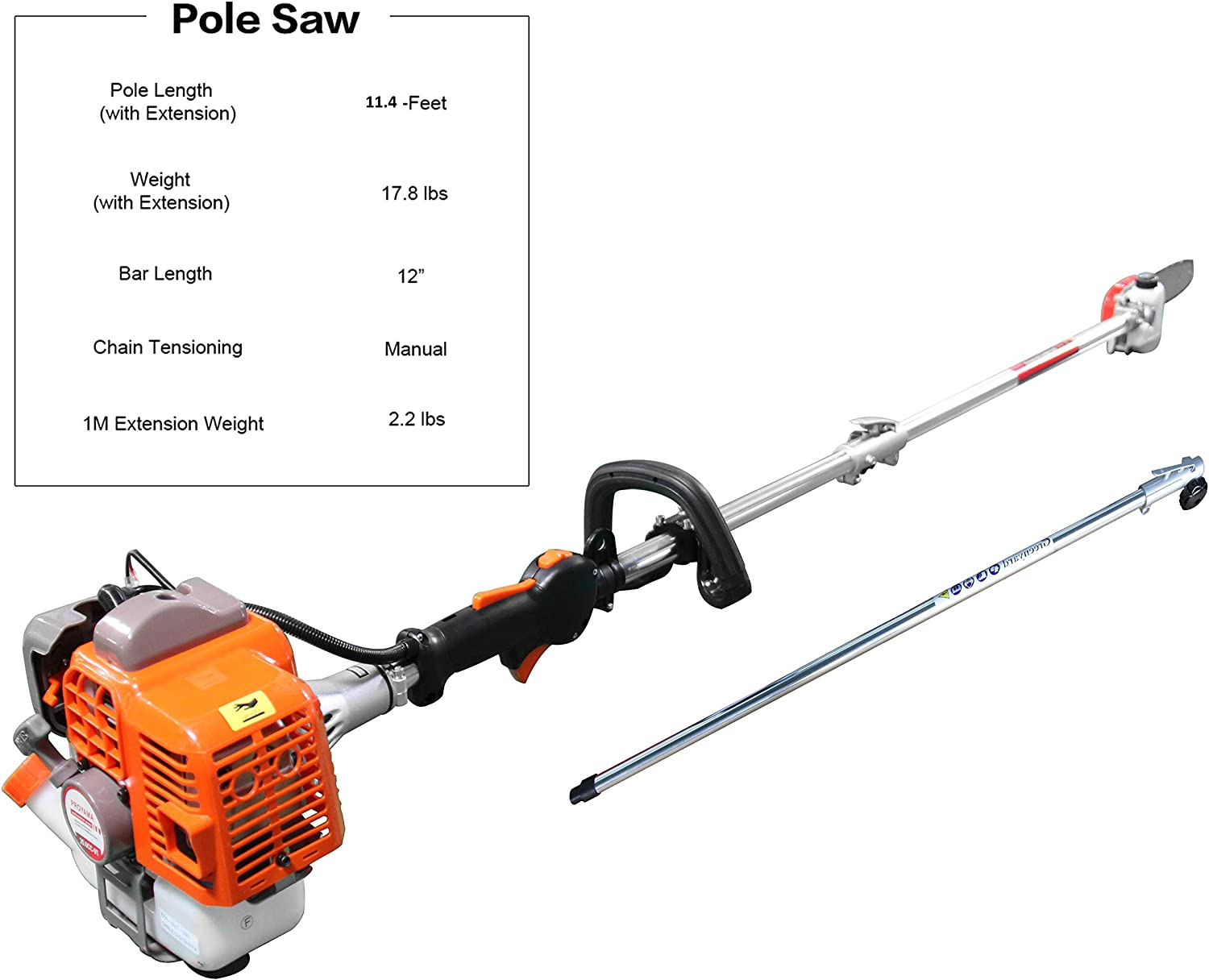 32.6cc 2-Cycle Tree Trimming//Pruning Cutting Tools Gas Powered Pole Saw 10 in