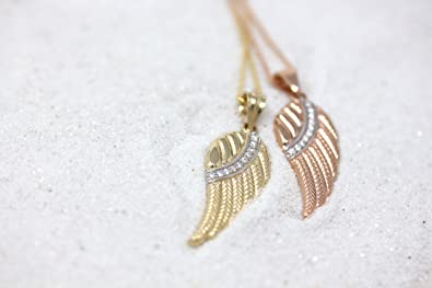 CaliRoseJewelry 10k and 14k Rose Gold Feather Angel Wing Diamond Pendant