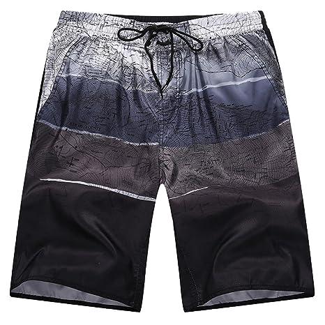 Bañador Hombre Playa Rayas Tricolores Board Shorts Pantalones Cortos Sueltos de Verano 1h3Fcv9zw