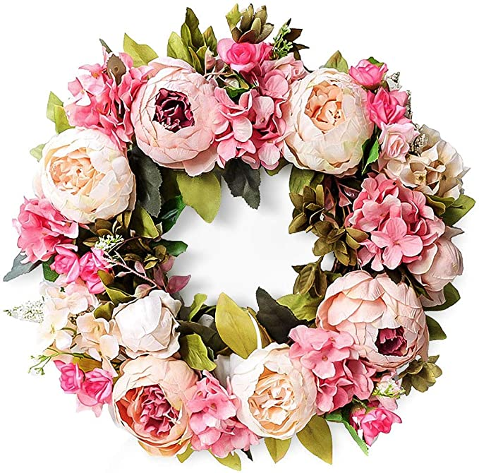 "Junejour 15"" Artificial Peony Wreath Pink Flower Door Wreath with Green Leaves Spring Wreath for Front Door Decor Wedding Wall Home Decoration best spring home decor"