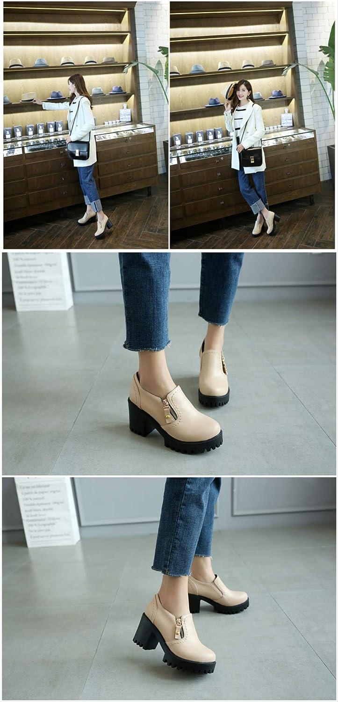ACWTCHY Women Shoes Platform Round Toe British Style Female Single Shoes Square Heels Women Pumps beige