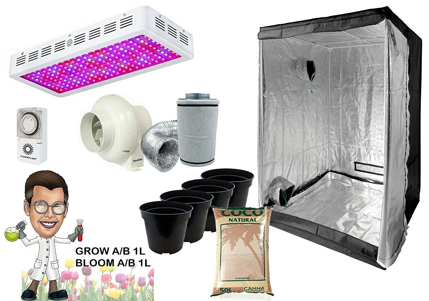 Canna complet Hydroponique GROW ROOM TENT Fan Filter Light Kit 600 W 120x120x200
