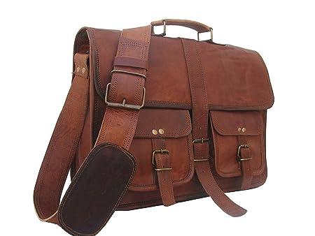 VH leather bags Vintage Soft Leather Messenger Brown Real Laptop Satchel Bag  Genuine Briefcase  Amazon.co.uk  Luggage 6262997dede5d