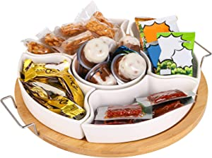 Yarlung 10 Inch Ceramic Divided Serving Dishes with Bamboo Platter, Relish Tray 6 Removable Bowls for Condiment, Appetizer, Chips, Dip, Nuts, Fruits, Veggies, Candy, Snacks
