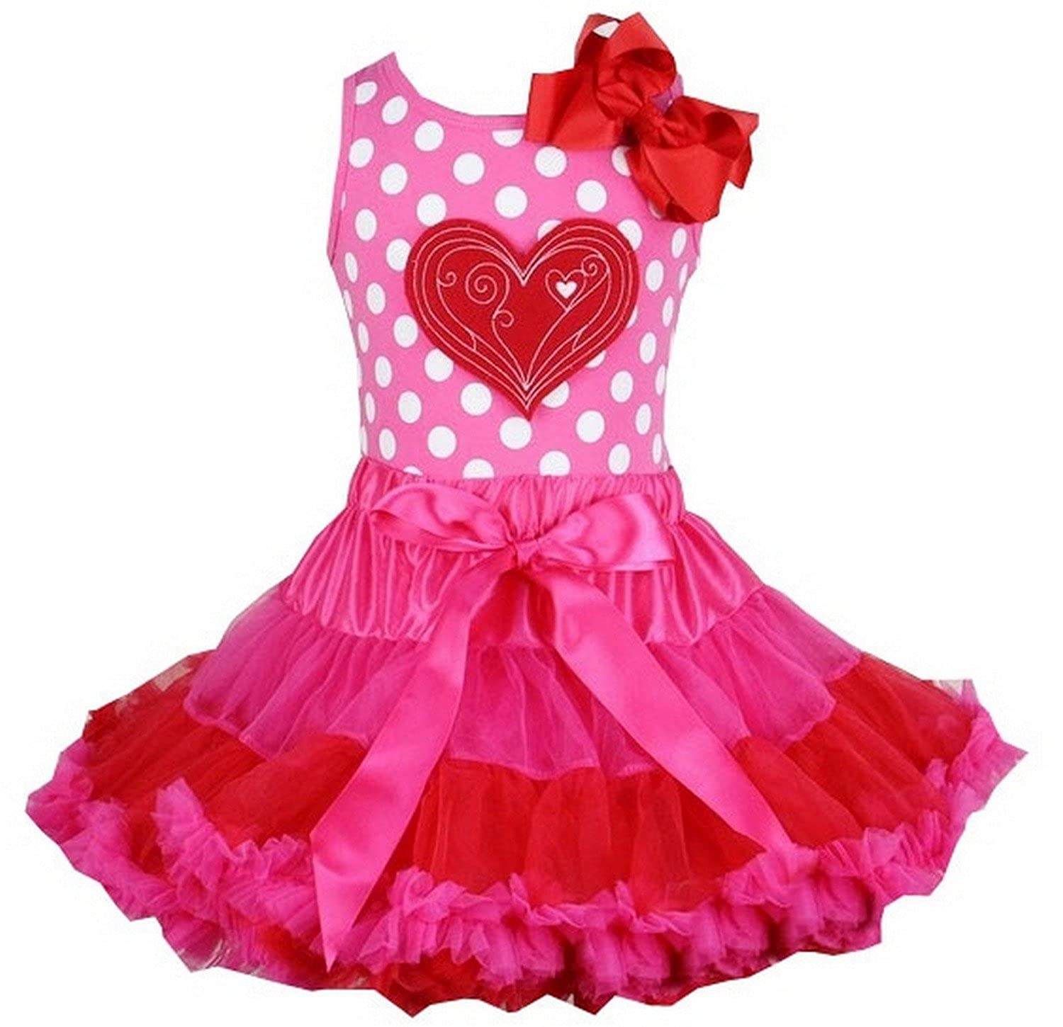 Kirei Sui Girls Hot Pink Red Pettiskirt Polka Dots Heart Tank Top