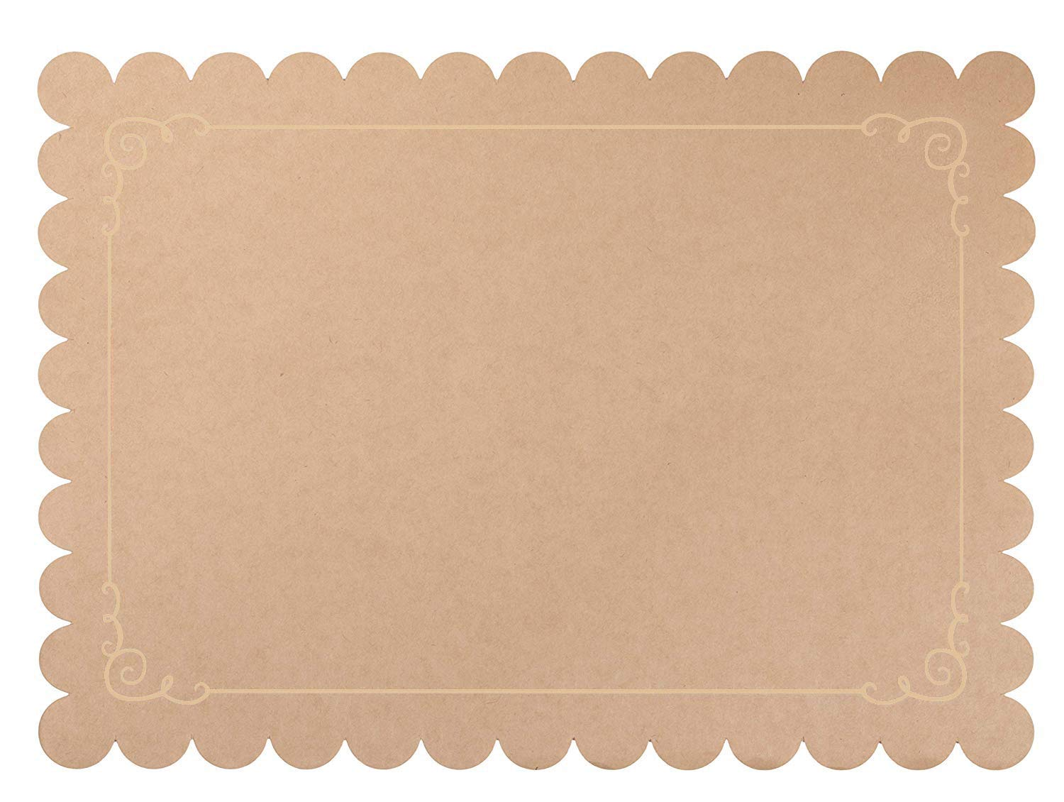 Kraft Paper Placemats - 100-Pack Disposable Placemats for Dining Table, Scalloped Edges and Beige Border, Wedding, Anniversary, Birthday Party Supplies, Table Decoration, Brown, 14 x 10 Inches by Juvale