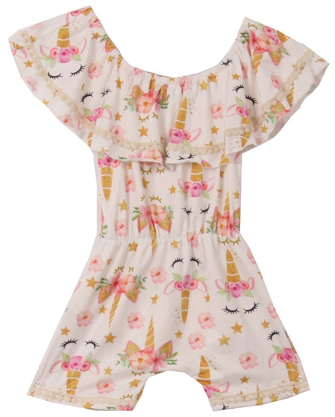 Little Girls' Floral Unicorn Off Shoulder Birthday Party Romper Clothing Gold 5 L (R301-04)