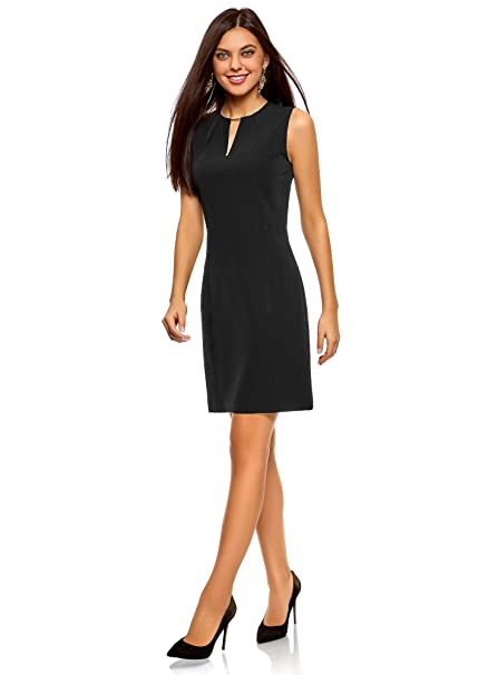 oodji Collection Mujer Vestido Entallado con Escote Gota, Negro, ES 38 / S: Amazon.es: Ropa y accesorios
