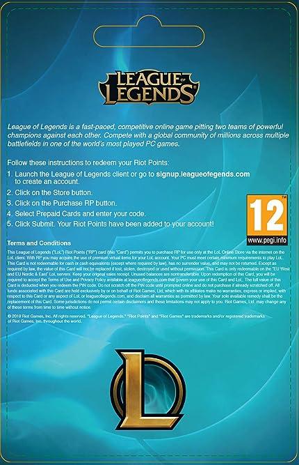 League Of Legends 20 Prepaid Gift Card 3080 Riot Points Amazon