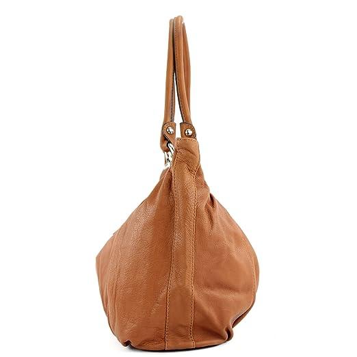 modamoda de - ital. Handtasche Tasche Damentasche Schultertasche Ledertasche Echt Nappaleder T70, Präzise Farbe:Orangebraun modamoda de - Made in Italy