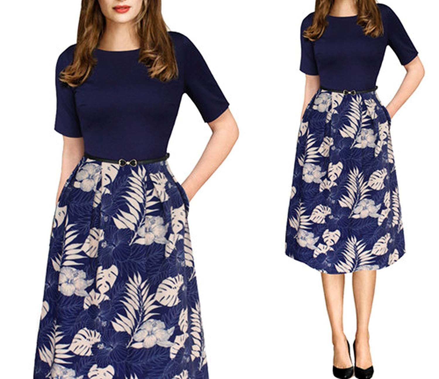 Dark bluee and Beige Fragrancety Womens Elegant Vintage Summer Polka Dot Belted Office Casual Party A Line Dress