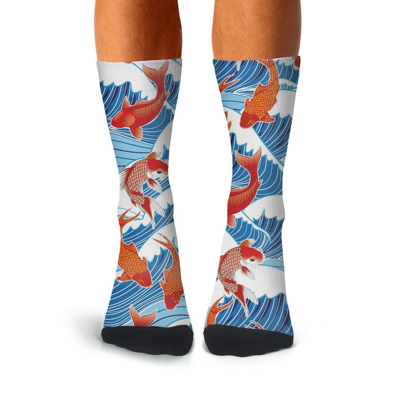 Over The Calf Socks For Men Moisture Wicking Compression Stockings Men KCOSSH Koi Fish Mens Crew Socks Unique