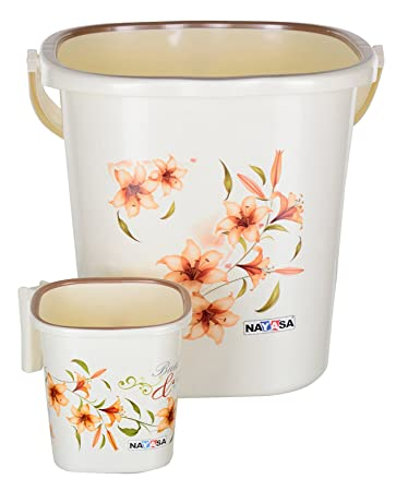 Nayasa Classical Strong Plastic Bathroom Bucket with Mug (25 L, Off-White, 2-Pieces)