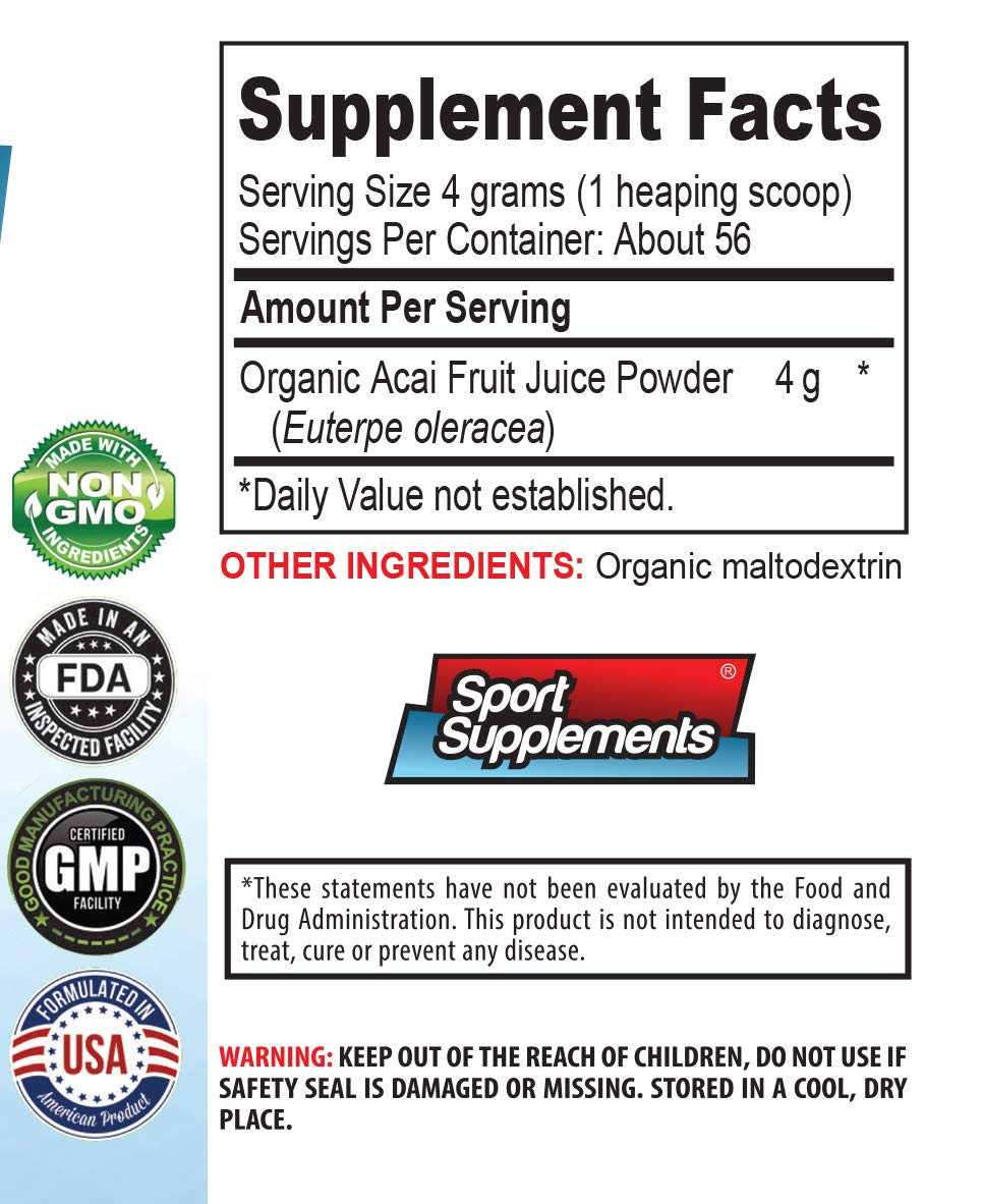 Immunity Booster Powder - ACAI Juice Powder - Organic Dietary Supplement - Pure acai Natural - 3 Cans 24 OZ (195 Servings) by Sport Supplements (Image #2)
