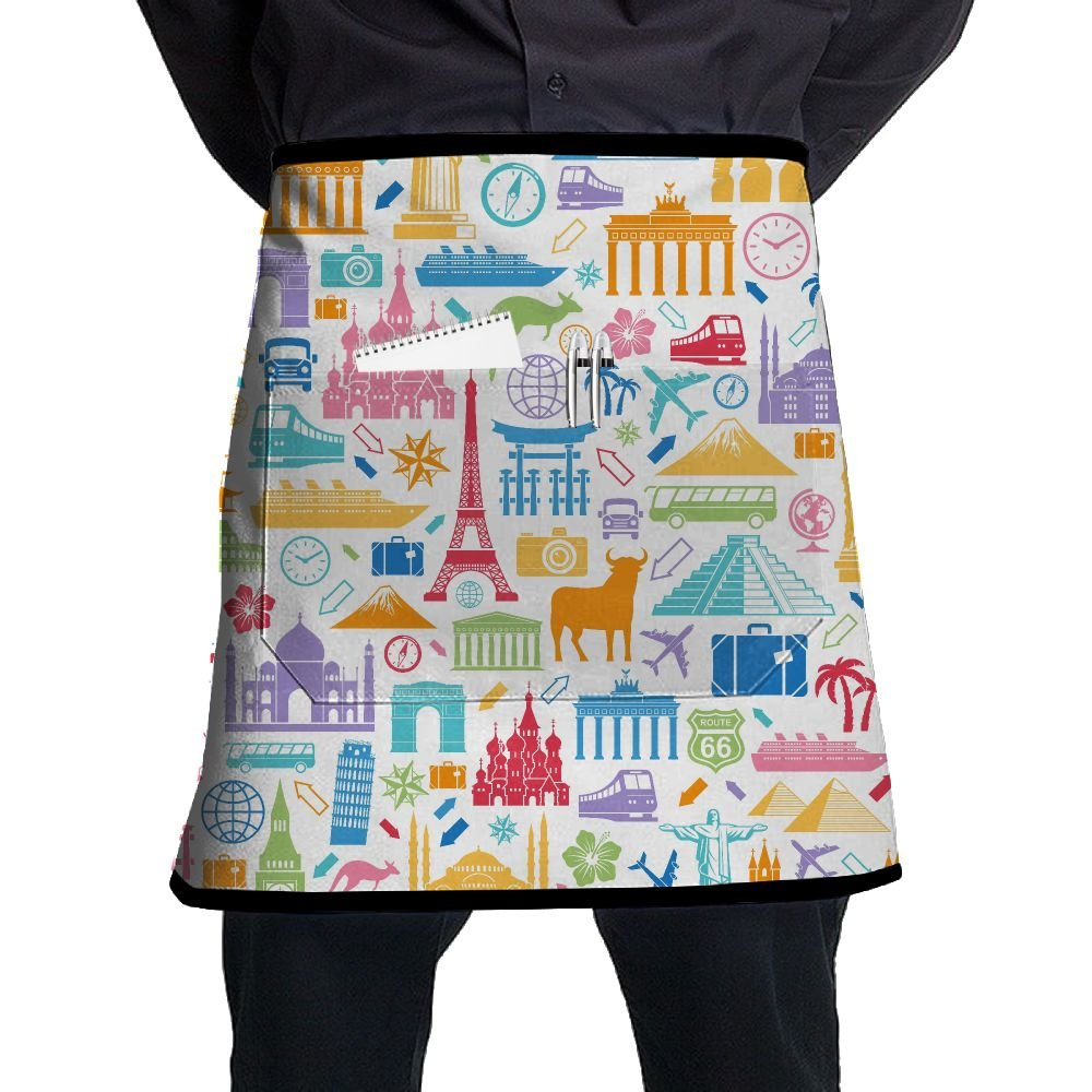 Travel Related Famous Elements Restaurant Cooking Kitchen Half Body Waist Aprons Sewing Pocket Apron by Jgiurhguij (Image #1)