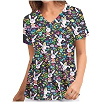 RJDJ home Scrub Tops Women's V-Neck Medical Working Uniform T-Shirt Cute Animals Print Short Sleeve Scrub Blouse Pockets