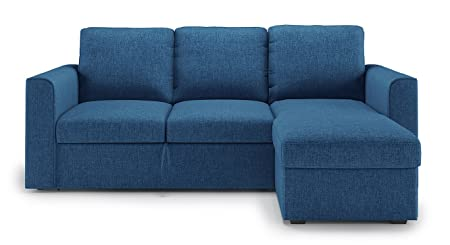 Urban Ladder Kowloon Sectional Sofa Cum Bed with Storage  Colour : Blue  Sofas   Couches