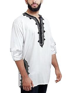 6a5e4ea07a1b21 Daupanzees Men Tunic T-Shirt Caftan Shirt Breathable Polyester Fiber  Handmade Embroidery Ethnic Tops Tee