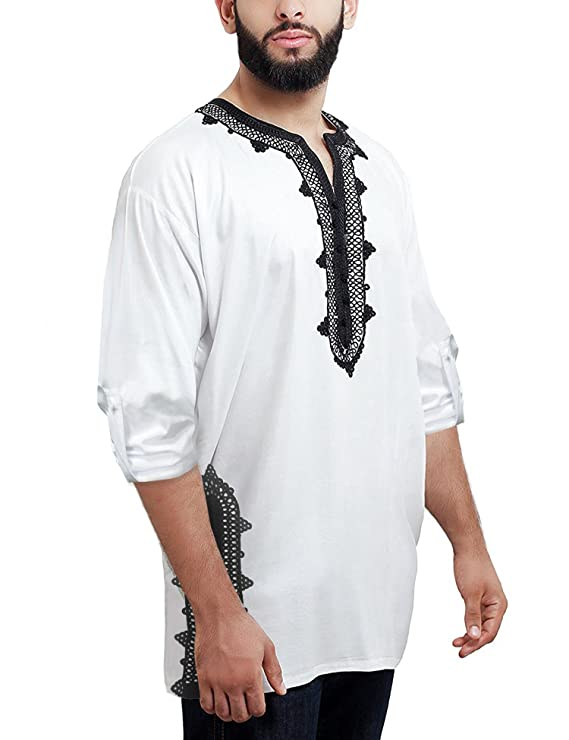 Daupanzees Men Tunic Caftan Shirt Breathable Fiber Cotton Handmade Tribal Long Sleeve Unisex Moroccan Embroidery T-Shirt Morocco Ethnic Tops Tee (White M)