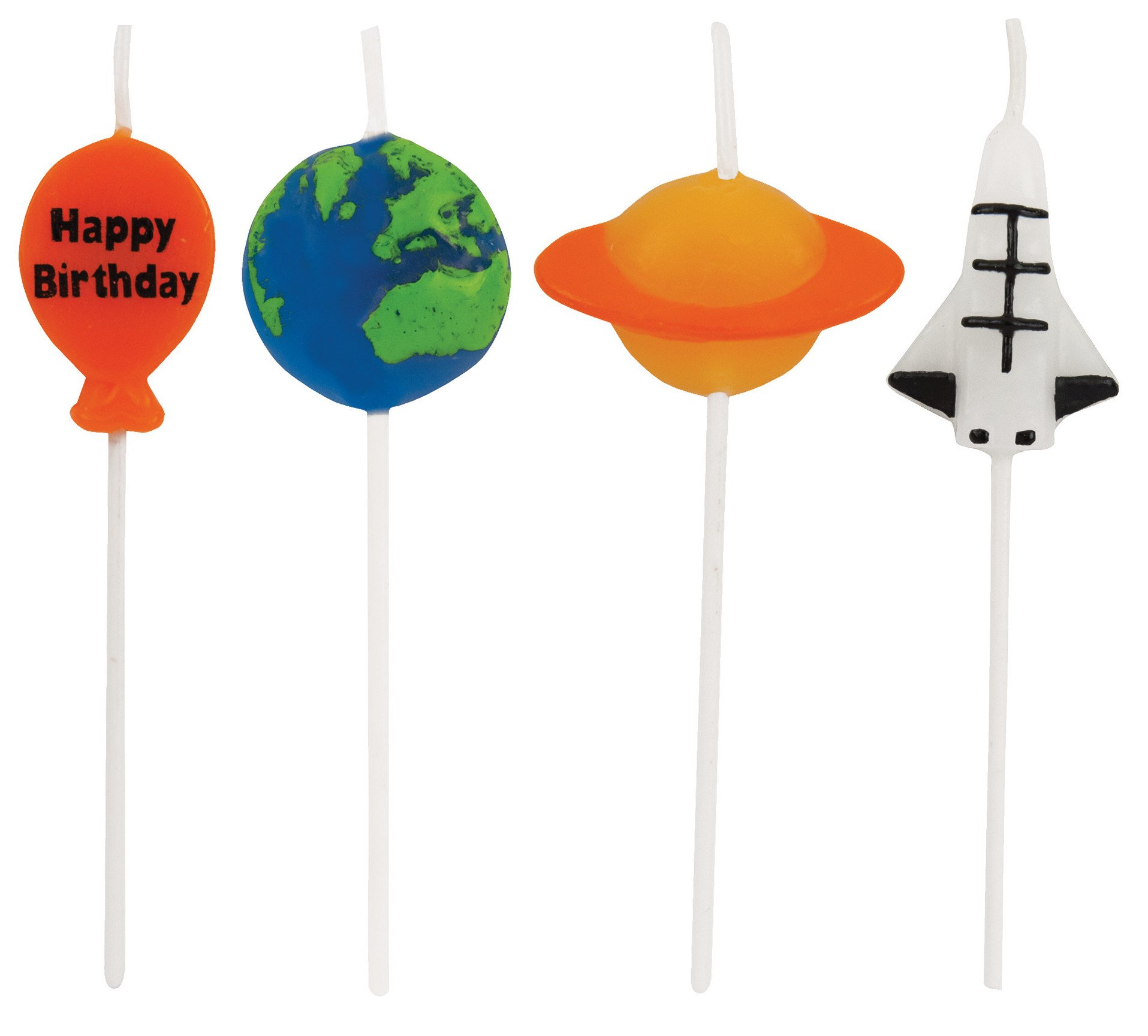 Creative Converting 4 Count Molded Pick Sets Birthday Cake Candles, Multicolor