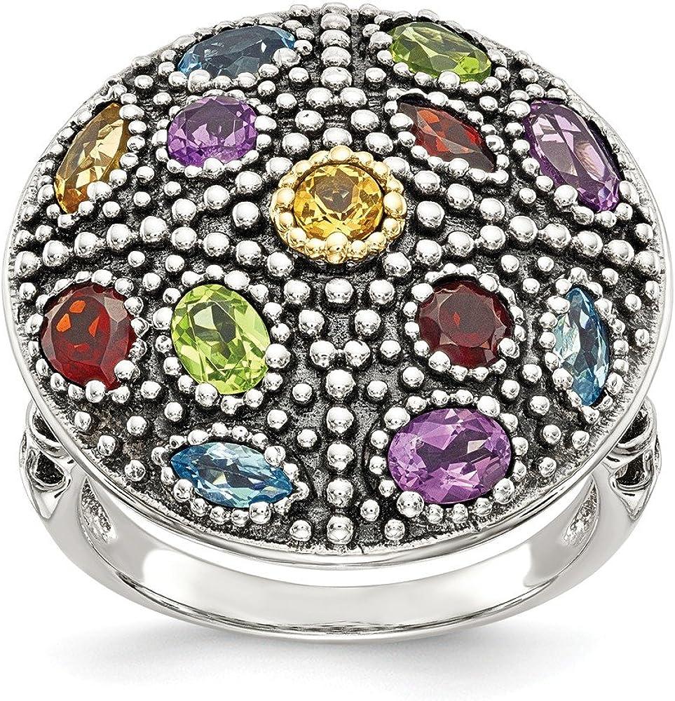 Hermoso oro blanco y amarillo de 14 K plata de ley con anillo de 14 K con piedras preciosas antiguas viene con un regalo de joyería gratis