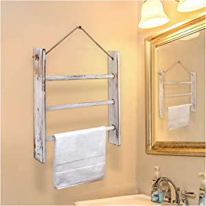 HoreZer Wood Hanging Towel Rack Wall-Mounted,Hand Towel Storage with Rope and Hanging Kits,Rustic Wood Farmhouse Decor Holder Shelf for Bathroom Living Room 16.9H16.9L2.9W