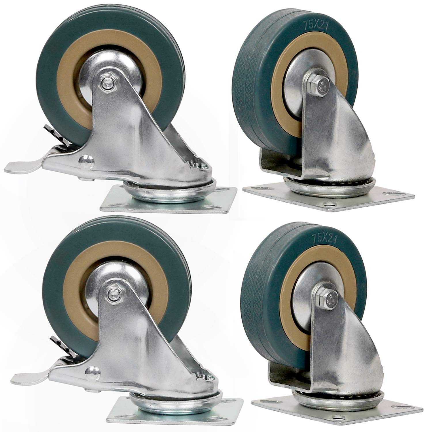 4 Packs 3 Inches (2 with Brakes, 2 Without),360 Degree Swivel Caster Wheels Set,KINJOEK Polyvinyl Chloride Caster Wheels with Brakes for Carts, Furniture, Workbench, Trolley, 440lb Total Capacity,Gray