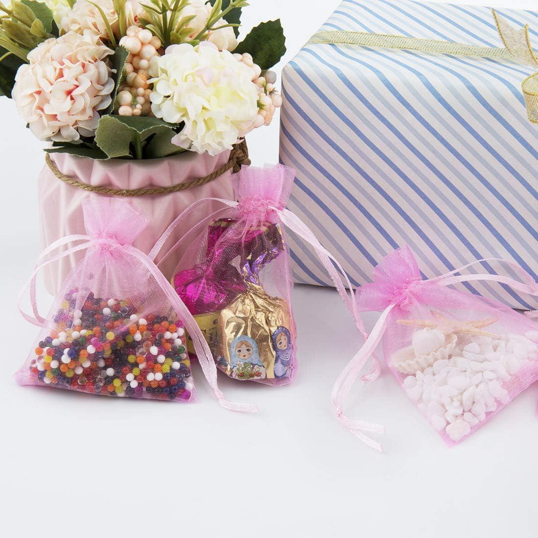 SenPuSi 100Pcs Pochette Sachet Poche Sac Organza Rose Organza Sacs /à Cadeaux pour Favors de Mariage Bijoux F/ête danniversaire Arts et m/étiers Emballage Bonbon