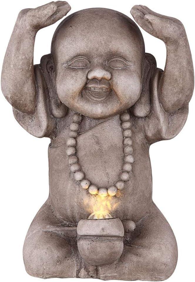 LED Solar Au/ßen Leuchte Buddha Design Figur Garten Dekoration Terrassen Lampe grau Globo 33561