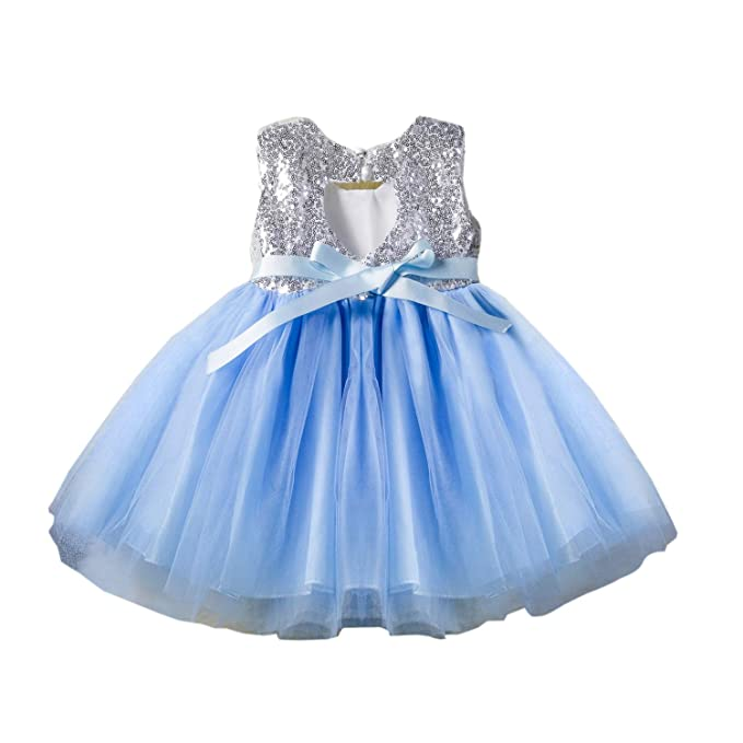 7e99d1f3 Baby Girl Backless Sequin Tulle Elegant Tutu Fluffy Pageant Party Wedding  Dresses for Toddler Baby Girls