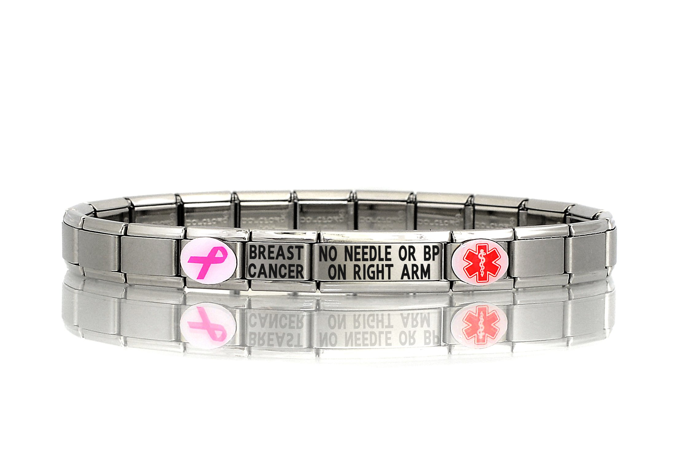 Dolceoro BREAST CANCER NO NEEDLE OR BP ON RIGHT ARM Medical ID Bracelet Alert - SELECT YOUR WRIST SIZE