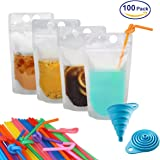 """100 Pcs Zipper Plastic Pouches Drink Bags,Heavy Duty Hand-Held Translucent frosted Reclosable Stand-up Bag 2.4"""" Bottom Gusset with 100pcs Straws & Funnel Included"""